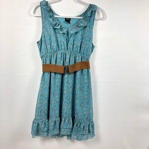 VANITY sleeveless ruffle dress with belt size LG